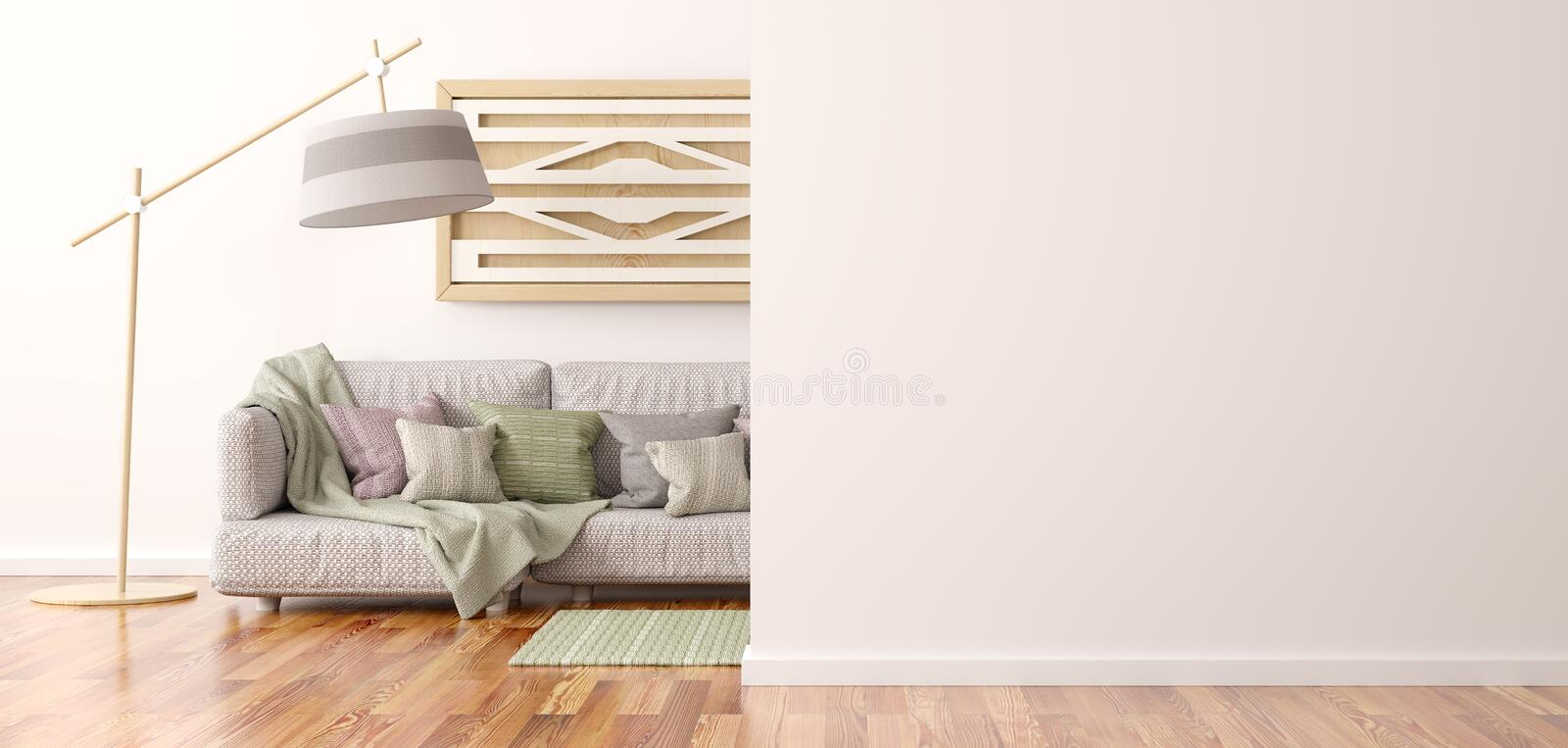 Interior design of modern living room with sofa 3d rendering. Interior design of modern living room with sofa and lamp, 3d rendering stock illustration