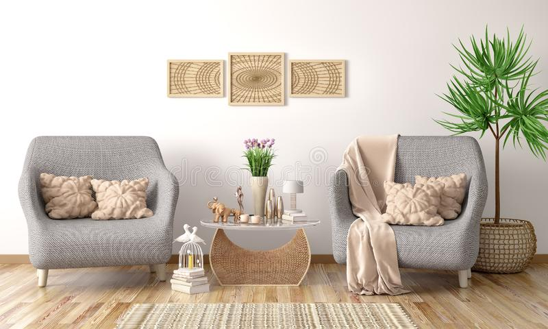Interior design of modern living room with two armchairs, coffee table with books , 3d rendering. Interior design of modern living room with two armchairs vector illustration