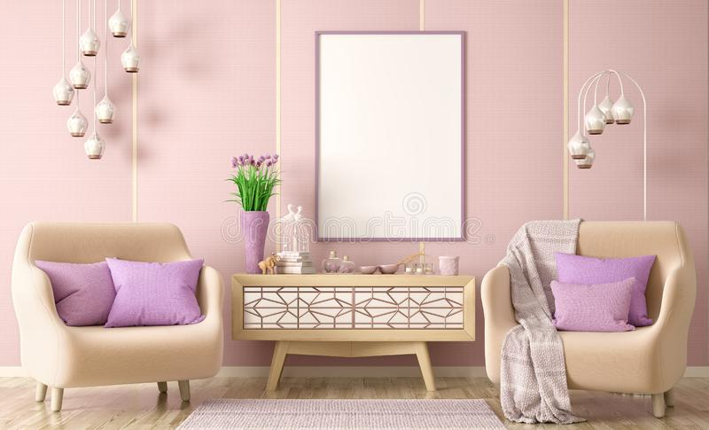 Interior design of modern living room with two armchairs, cabinet with decor and frame, 3d renderin stock photos