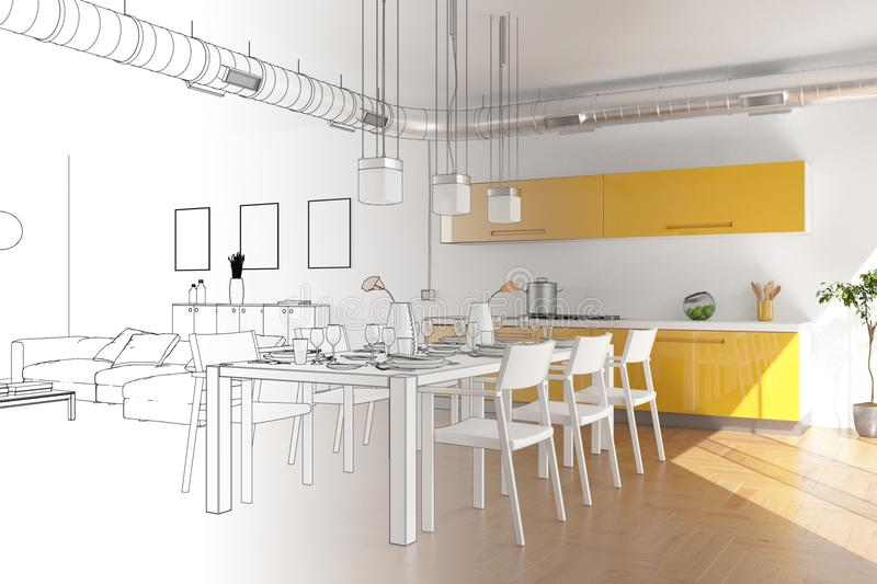 Interior Design Modern Loft Drawing Gradation Into Photograph stock photo