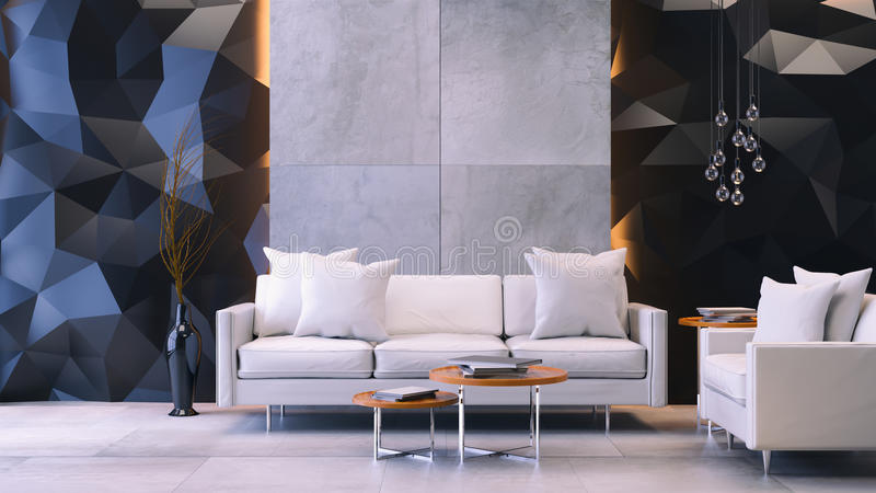 Modern loft interior with Mock up poster ,living room, White sofa with wood coffee table on concrete floor and polygonal black w vector illustration