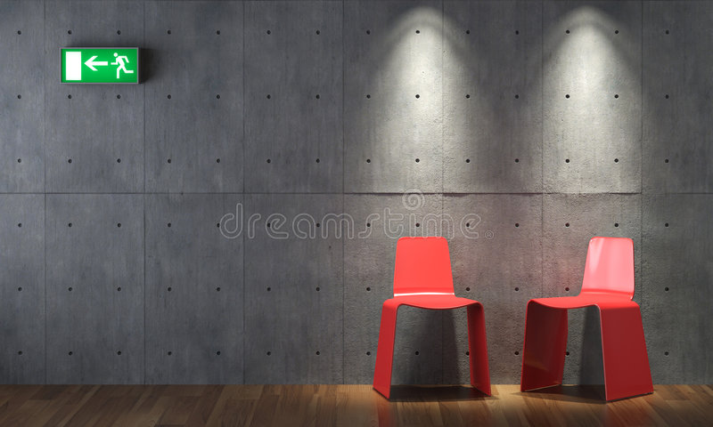 Download Interior Design Modern Red Cahirs On Concrete Wall Stock Illustration - Illustration: 9192869
