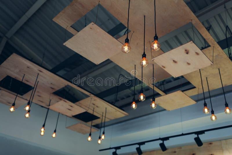 Interior design of modern restaurant ceiling. Steam-punk, pop-art, high-tech, loft design royalty free stock photo