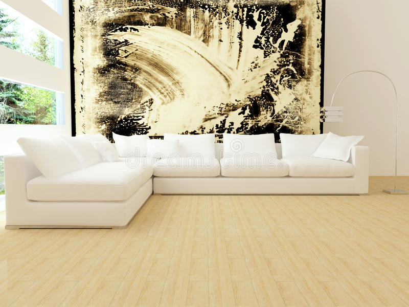 Interior design of modern white living room stock photography