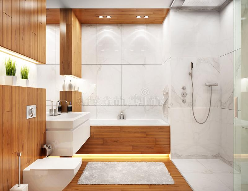 Interior design moderno del bagno in casa moderna illustrazione vettoriale