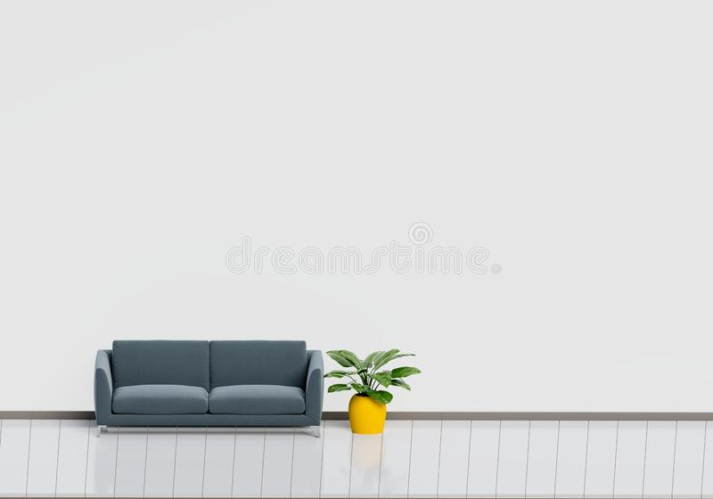 Interior design moderno del salone con il sof? nero con il vaso lucido bianco e di legno della pianta e del pavimento Concetto do fotografie stock