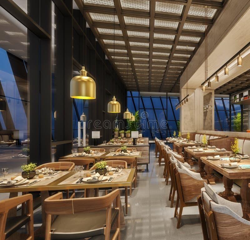 Interior design moderno del salotto del ristorante, stile arabo orientale con il soffitto della rete metallica e le luci nascoste immagini stock