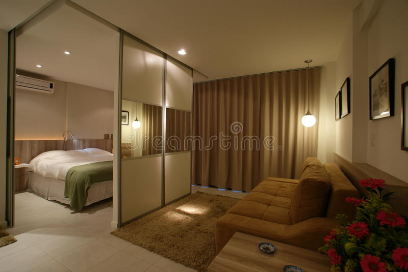 Interior design moderno del sottotetto con i portelli scorrevoli fotografia stock