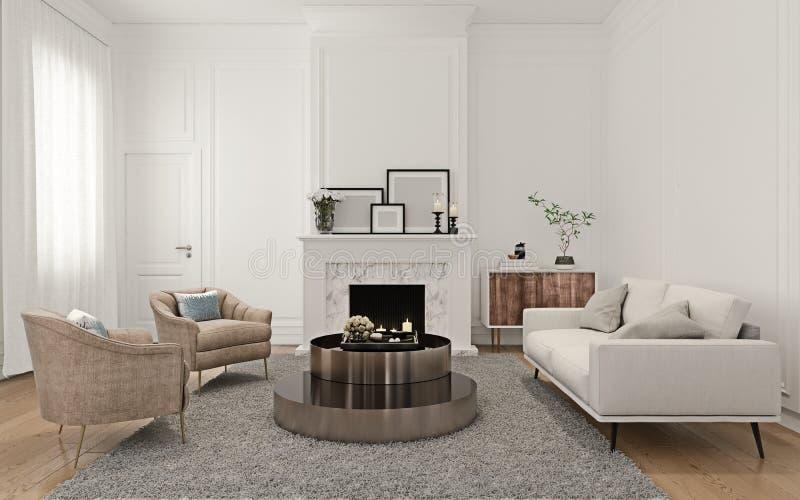 Interior design moderno dell'appartamento molto luminoso del sottotetto con la mobilia italiana di stile, camino con le strutture illustrazione vettoriale