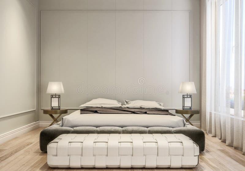 Interior design moderno della camera da letto principale, letto a due piazze con le lenzuola, pavimentazione di legno e pareti gr fotografia stock