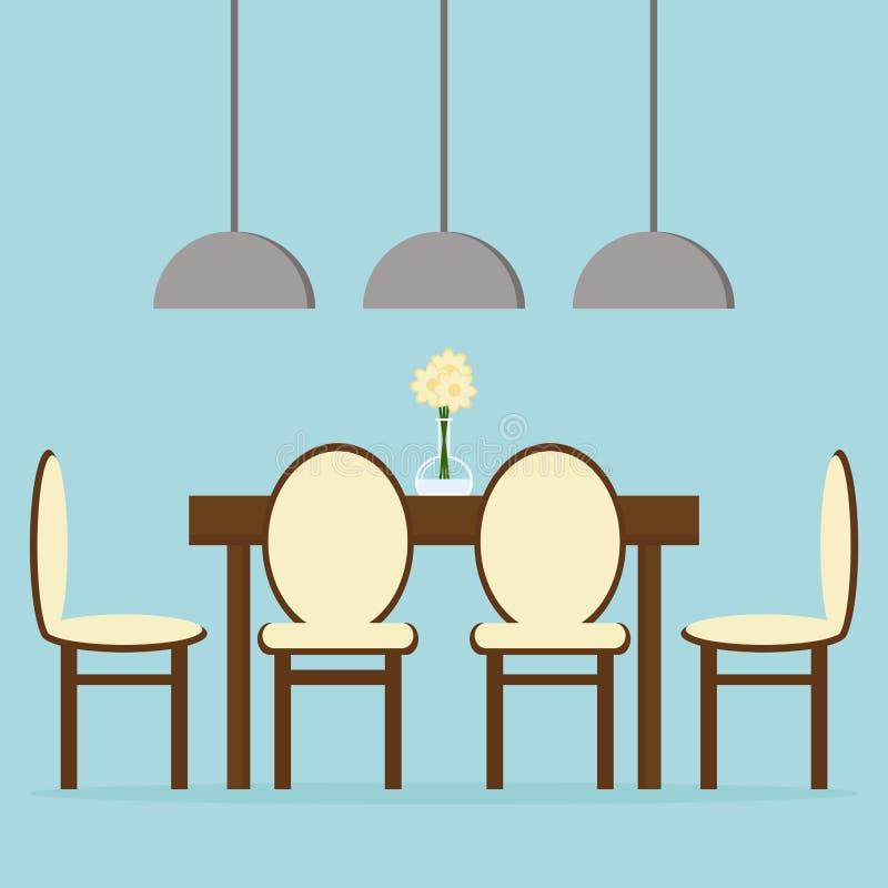 Interior design moderno della sala da pranzo con la tavola, le sedie e le lampade illustrazione vettoriale