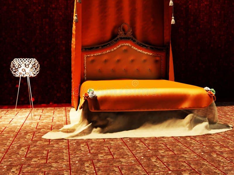 Interior design moderno della stanza del letto royalty illustrazione gratis