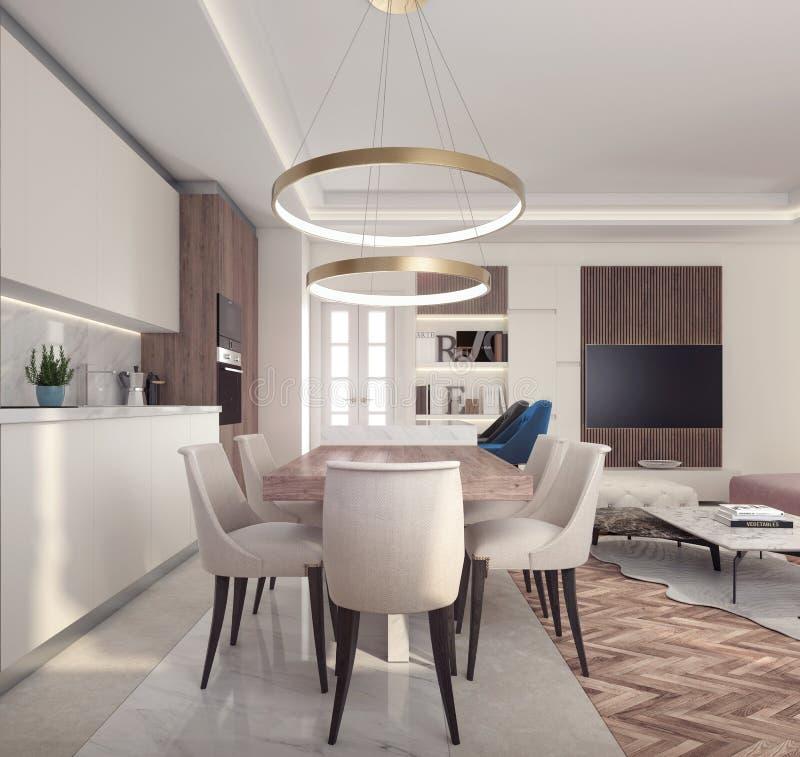 Interior design moderno di piccolo appartamento illustrazione vettoriale