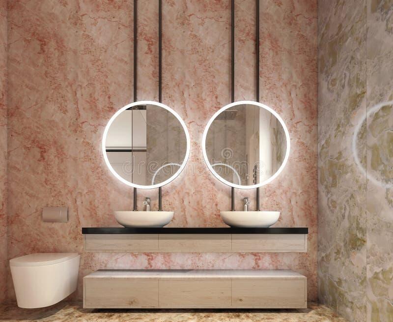 Interior design moderno di vanità del bagno, tutte le pareti fatte delle lastre di pietra con gli specchi del cerchio fotografia stock libera da diritti