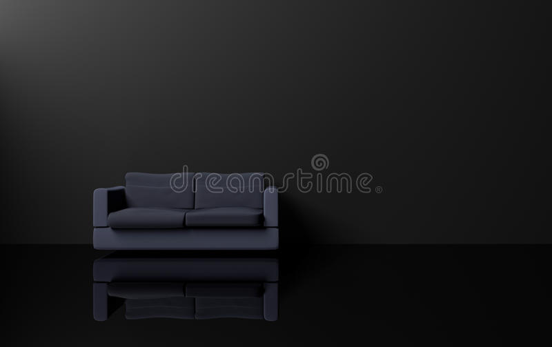 Interior design moderno e di lusso di stile di minimalismo con il tono scuro, la parete blu scuro del nero del sofà ed il pavimen illustrazione vettoriale