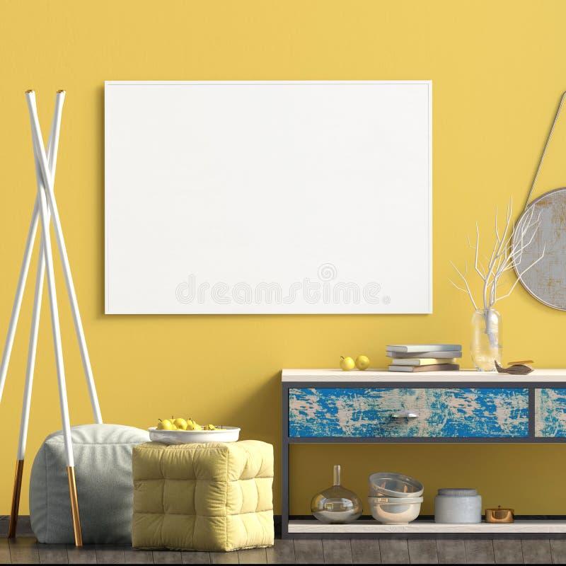Interior design moderno nello stile scandinavo Derisione sul manifesto 3d illustrazione vettoriale