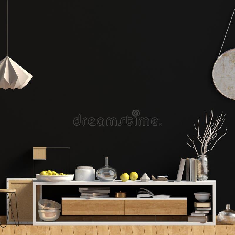 Interior design moderno nello stile scandinavo Derisione sulla parete 3D i illustrazione vettoriale