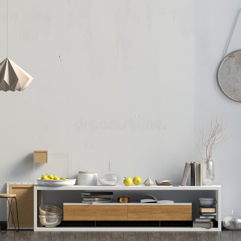 Interior design moderno nello stile scandinavo Derisione sulla parete 3D i illustrazione di stock