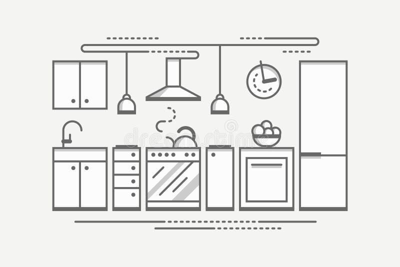 Interior design monocromatico della cucina Illustrati piano di vettore di stile illustrazione vettoriale
