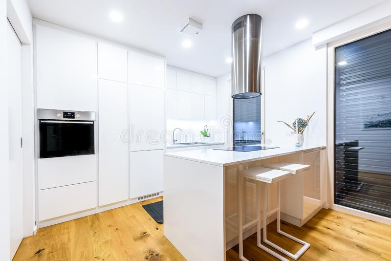 Interior design new modern white kitchen with kitchen appliances. Luxury residential kitchen with sink, stove, hob and white wooden cupboards and hard wood royalty free stock photo