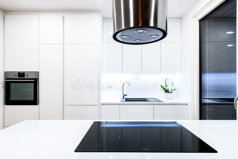 Interior design new modern white kitchen with kitchen appliances. Luxury residential kitchen with sink, stove, hob and white wooden cupboards and hard wood royalty free stock image