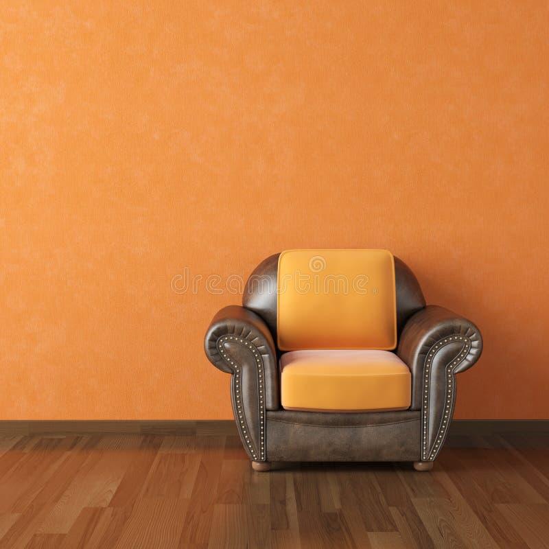 Interior design orange wall. Interior design scene brown leather couch on a orange wall background copy space