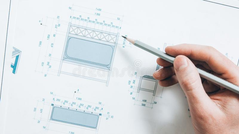 Interior design perspective planning engineer stock photography
