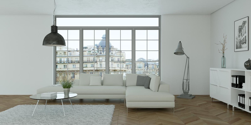 Interior design piano skandinavian luminoso moderno fotografia stock