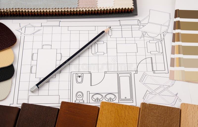 Interior design planning. Composition of materials and design tools