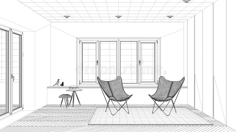 Interior design project, black and white ink sketch, architecture blueprint showing minimal living room with armchair carpet vector illustration