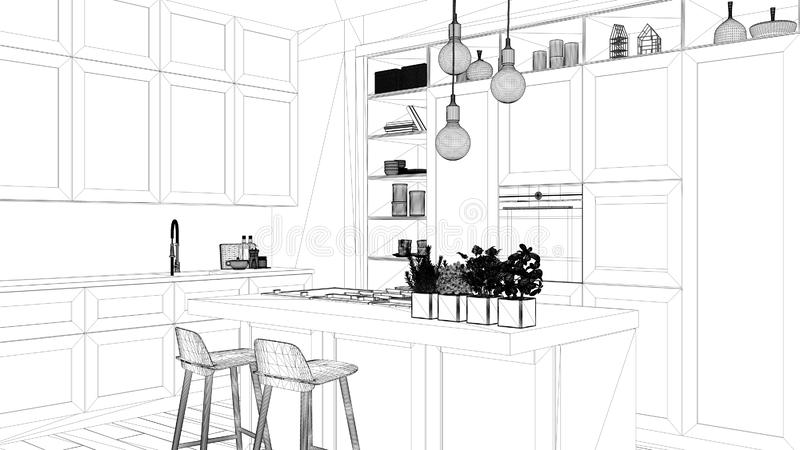 Interior design project, black and white ink sketch, architecture blueprint showing modern kitchen in contemporary luxury. Apartment with parquet floor royalty free stock photography