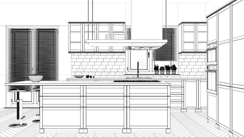Interior design project, black and white ink sketch, architecture blueprint showing modern kitchen royalty free illustration