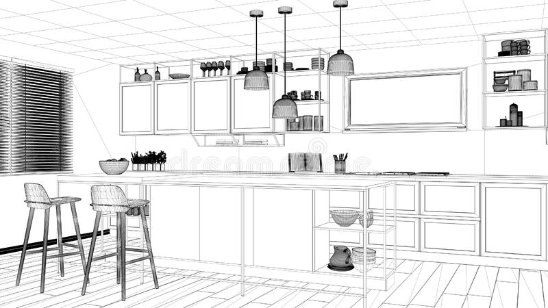 Interior design project, black and white ink sketch, architecture blueprint showing modern kitchen, island with stools and. Accessories, contemporary royalty free stock photo