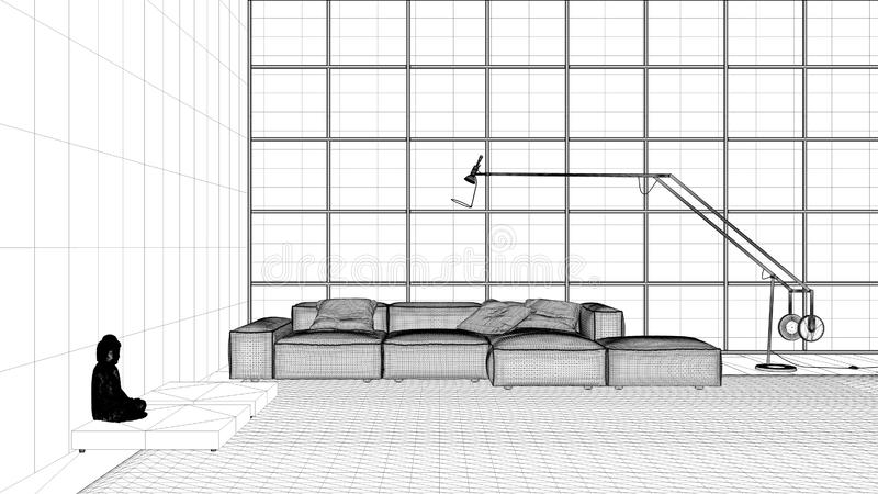 Interior design project, black and white ink sketch, architecture blueprint showing modern living room with big window vector illustration