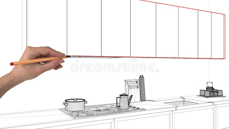 Interior design project concept, hand drawing custom architecture, black and white ink sketch, blueprint showing minimal kitchen royalty free stock photos