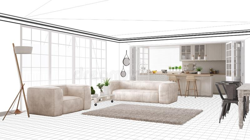 Interior Design Project Draft Work In Progress Concept Idea Real Modern White And Wooden Scandinavian Living Room With Kitchen Stock Illustration Illustration Of Contemporary Designer 141778749