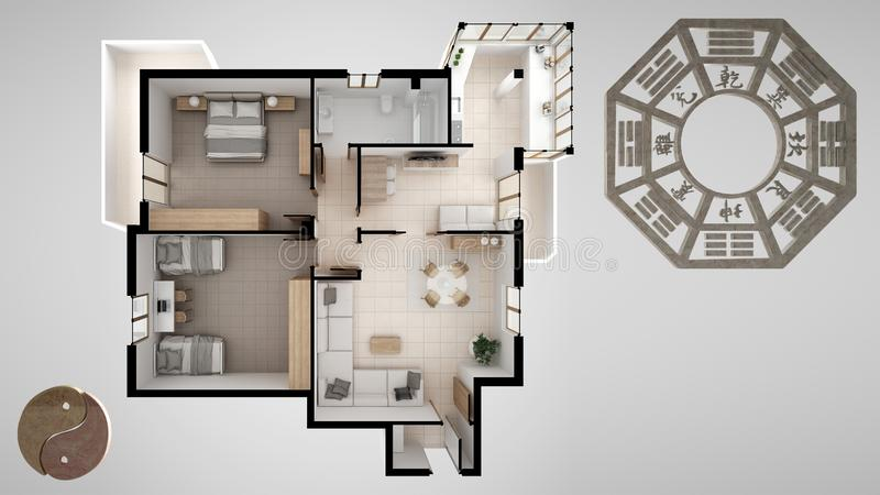 Interior design project with feng shui consultancy, home apartment flat plan, top view with bagua and tao symbol, yin and yang. Polarity, monogram concept stock illustration