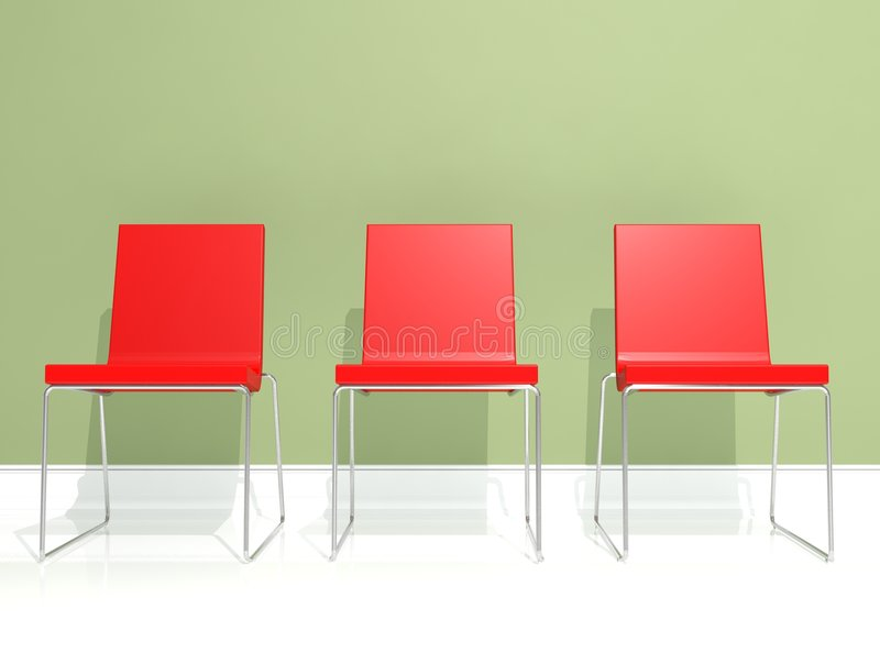 Interior design, red chair. Red, greeen and white interior design with minimal elements