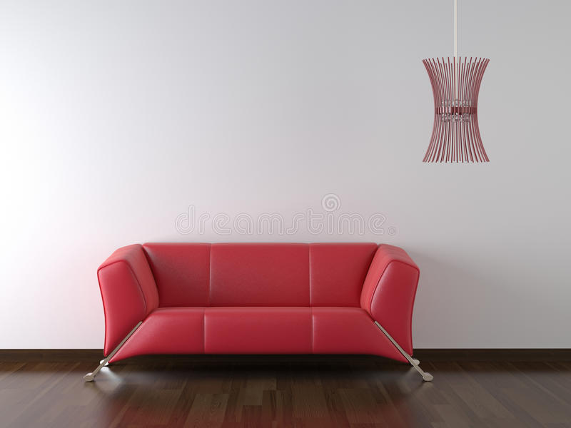 Interior design red couch white. Interior design red leather couch and lamp on white wall with copy space royalty free illustration