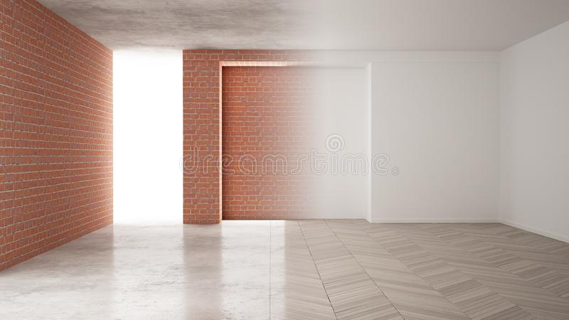Interior design renovation, before and after, repair and wall painting, herringbone parquet flooring, steps of development, home stock illustration
