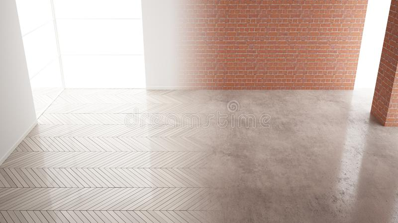 Interior design renovation, before and after, repair and wall painting, herringbone parquet flooring, steps of development, home vector illustration