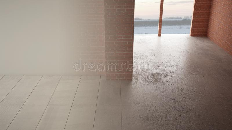 Interior design renovation, before and after, repair and wall painting, marble ceramic tiles flooring, steps of development, home stock images
