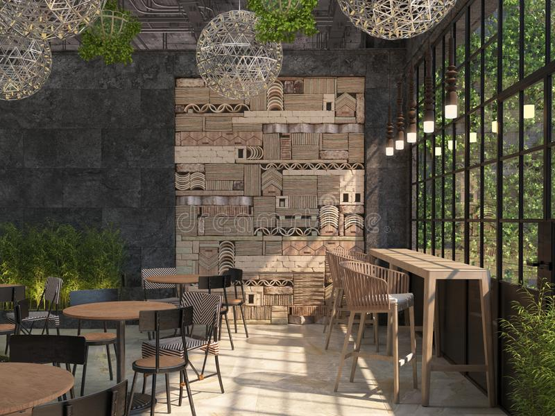 The interior design of the restaurant is loft style. Tables with chairs on the background of a black wall with a decorative 3D pan vector illustration