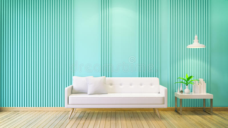 Interior room ,minimalist modern,white sofa with white table on green wall and wood floor ,copy space ,valentine day ,3d render vector illustration