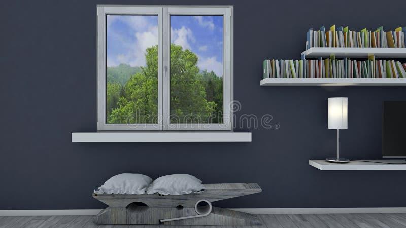 Interior design, salone e mobilia moderna, finestra che trascura un parco Attico prestigioso Seat nella forma royalty illustrazione gratis