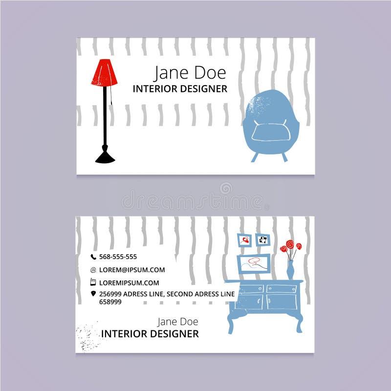 Interior Design Sketch Business Card Template Stock Vector ...