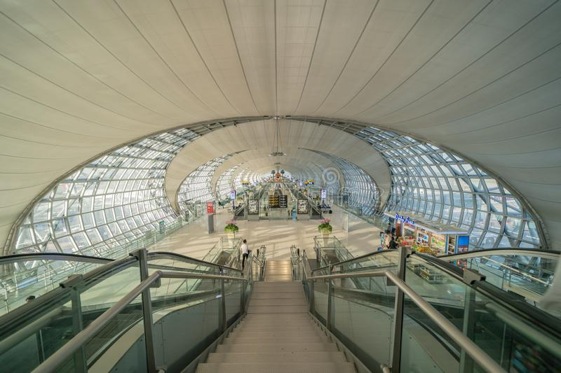 Interior design of Suvarnabhumi Airport which is one of two international airports in Bangkok, Thailand. Structure of architecture. Frame for travel royalty free stock photos