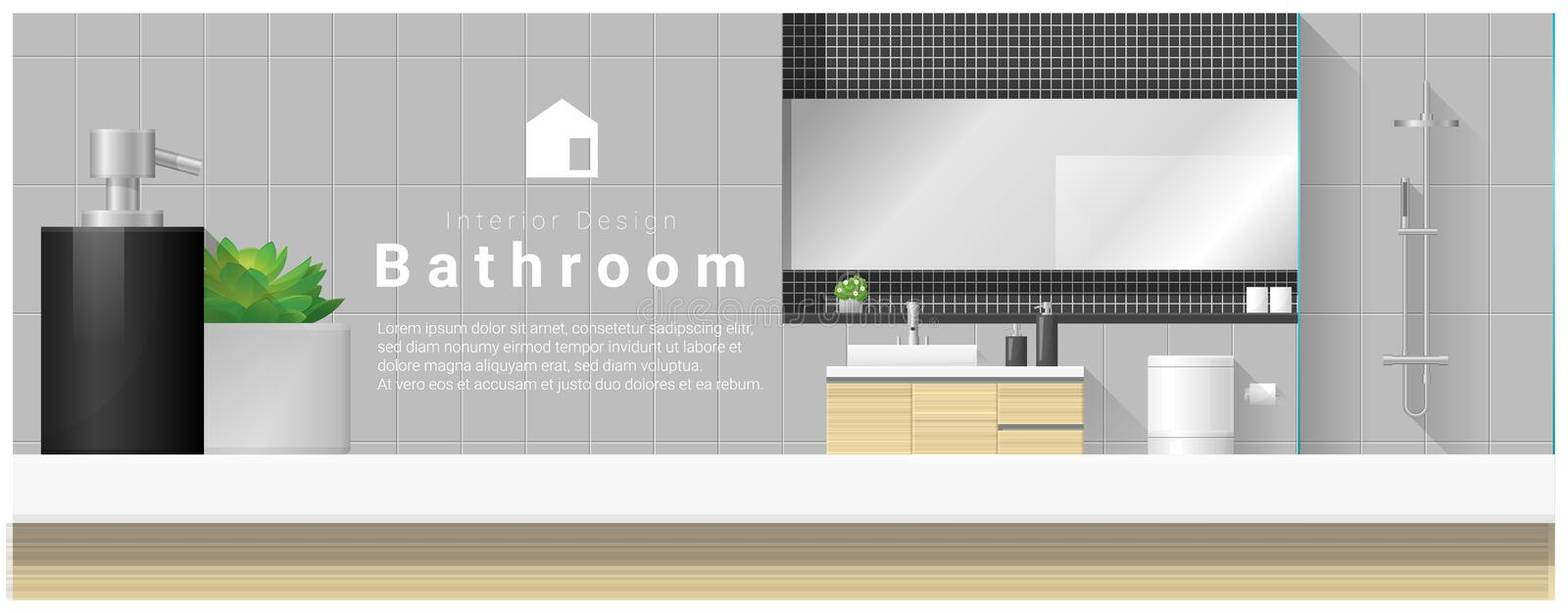 Interior design with table top and Modern bathroom background stock illustration