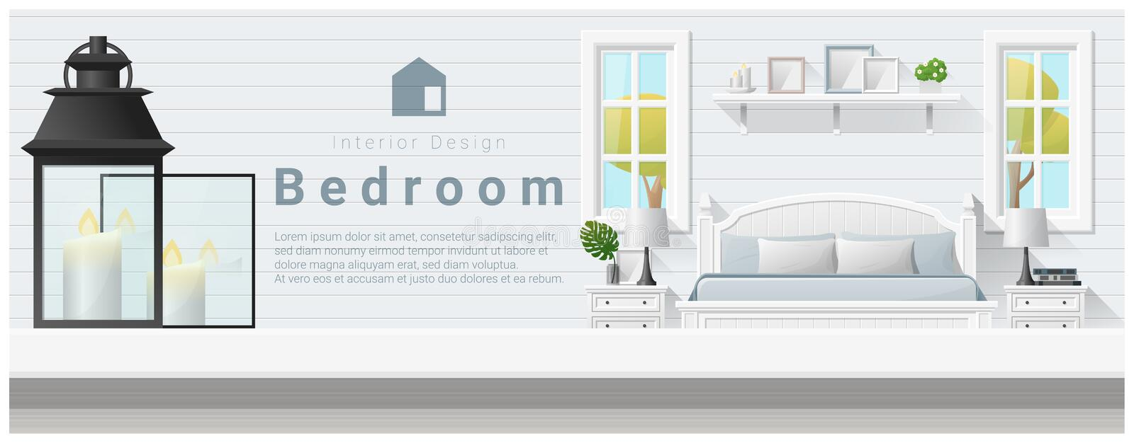 Interior design with table top and Modern bedroom background stock illustration