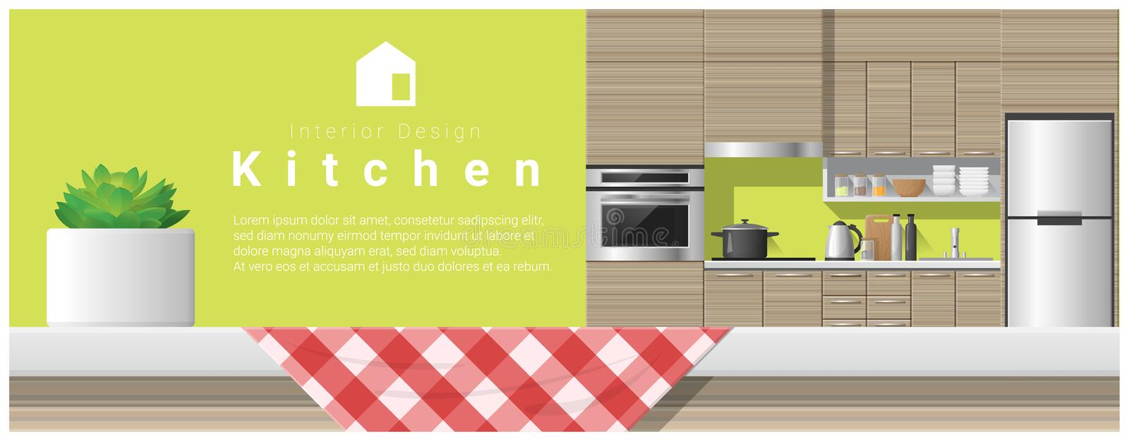 Interior design with table top and Modern kitchen background vector illustration